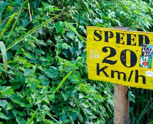Speedlimit 20 Km/h (Schild in Sri Lanka entlang der Bahngleise)