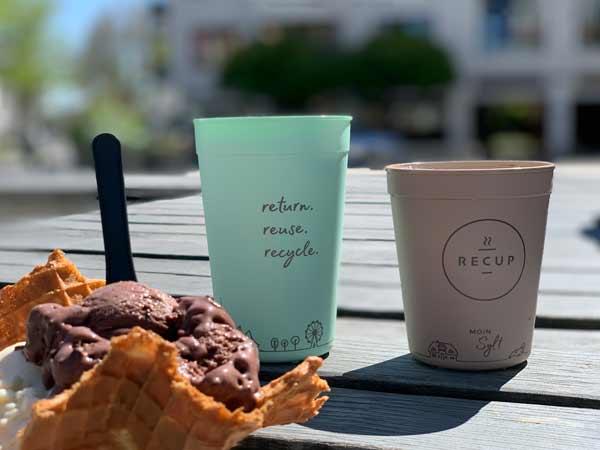 Mehrweg-Becher von RECUP für Ihren Coffee to go (Eiswerkstatt Starnberg)